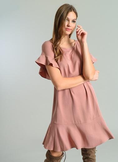 Volan Detaylı Elbise-Agenda